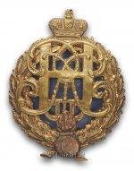 Полковой знак 2-го гренадерского Ростовского Е.И.В. Великого Князя Михаила Александровича полка для нижних чинов. Утвержден 27 марта 1908г.