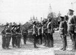 Император Николай II принимает рапорт от почетного караула 183-го пехотного Пултуского полка. Фото 1913 г., шифр Д 14754, ЦГАКФФД.
