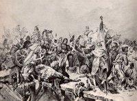 Переправа французов через р. Березина в ноябре 1812 г. Гравюра.