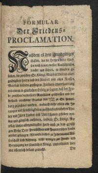 Прусская прокламация о заключении и условиях мира между Пруссией и Россией. 1-я страница. 1762 г.