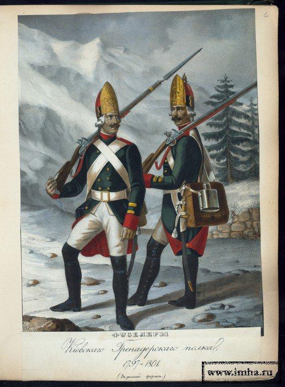 Фузелеры Киевского гренадерского полка в 1797-1801 гг.