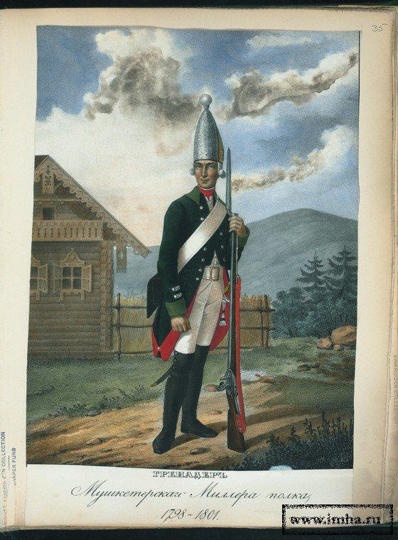 Гренадер Мушкетерского Миллера полка в 1798-1801 гг.