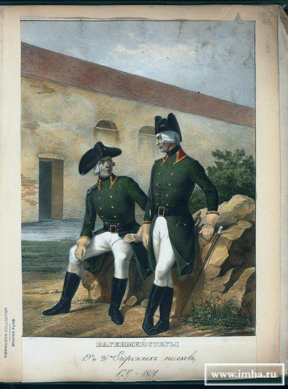Вагенмейстер 19-го Егерского полка в 1797-1801 гг.