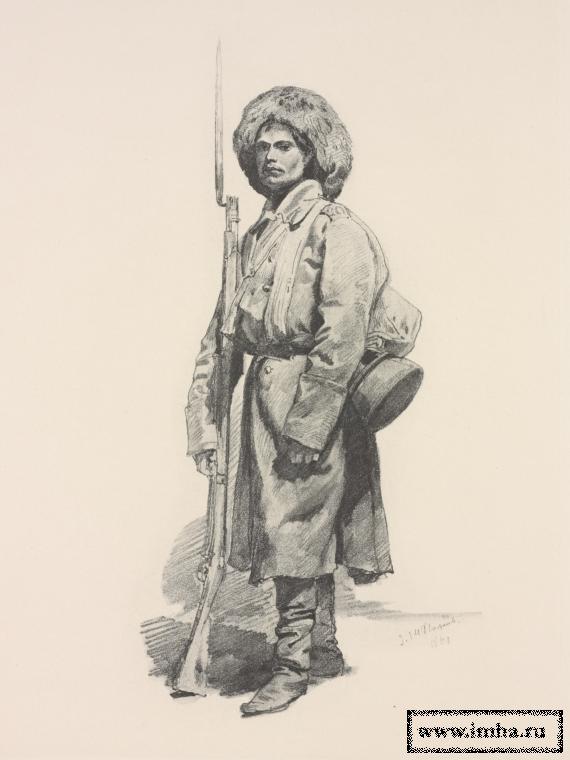 Рядовой Куринского полка. 1896 г. Литография. Кавказские походные рисунки Горшельта.