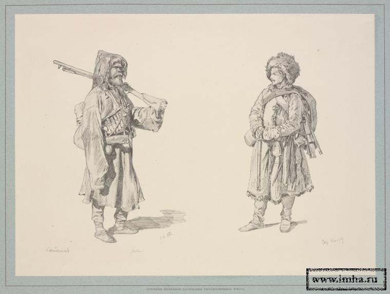 Охотник и солдат Кабардинского полка. Литография. Кавказские походные рисунки Горшельта. 1896.