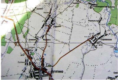 Современная карта с. Путятино. В левом нижнем углу с. Александровка, в правом верхнем углу Александровские выселки
