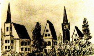 г. Рагнит. Кирха /церковь/ и башня с часами. Из фронтового блокнота В. В. Мысева.