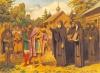 Мы знаем из истории этот сюжет: князь Дмитрий Донской получает благословение преподобного перед Куликовской битвой.