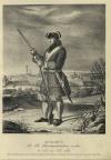 ФУЗЕЛЕР Лейб-Гвардии Преображенского полка, с 1700 по 1720 год. Вид изображает часть города и крепости Нарвы, покоренной Российскими войсками в 1704 году.