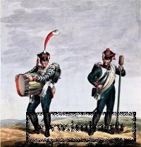 Барабанщик и канонир русской пешей артиллерии. Издание И.Каппи. 1814 г.