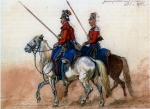 Казаки Лейб-Гвардии Казачьего Его Величества полка в 1815 г. Рисунок с натуры И.А.КЛейна.
