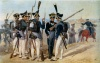 Стрелки, гренадеры и обер-офицер 41-го Егерского полка. Рисунок с натуры И.А. Клейна. 1815 г.