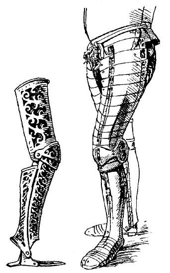 Рис. 4. Прорезные поножи, прорези рассчитаны на бархатную подкладку, обувь — кольчужная или кожаная. Италия, ок. 1580 г. Музей Польди-Пеццолн в Милане. Рис. 5. Полные поножи, с полными набедренниками; в облегченном виде их также можно было носить без наголенников и башмаков; наголенники зашнурованы с внутренней стороны; железный башмак имеет подвижные пластины на подъеме ступни и у носка стопы. Ок. 1560 г.