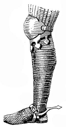 Рис. 1. Кольчужный чулок с наколенником. От доспеха ландграфа Ульриха Эльзасского. Прорисовка со статуи в церкви Св. Гийома в Страсбурге. 1344 г.