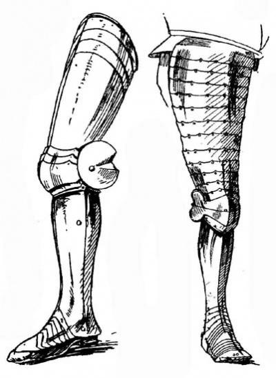 Рис. 6. Полные поножи, с подвижными наколенниками и башмаками. От доспеха Фердинанда Католика, короля Арагона. Ок. 1480 г. Рис. 7. Поножи, с широкими полными набедренниками; башмак имеет подвижные пластины не только в подъеме и у носка ступни, но и у лодыжки. Ок. 1620 г.