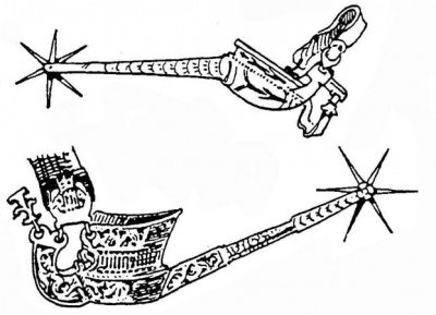 Рис. 246. Готическая шпора. Из резного железа; местами перфорированная и луженая. Кон. XV в. Рис. 247. Шпора. Из ажурного листового железа с вырубными украшениями; на дужке — надпись: «POMNY NA MYE, >MA MYLA WYERNA PANY» («Помни обо мне, моя дорогая, верная жена»); на обивке ремешка можно разглядеть готическую монограмму под короной, до сих пор не расшифрованную.