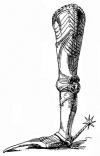 Рис. 2. Поножи, с налядвенником из двух частей и подвижными пластинами при наколеннике. От готического боевого доспеха императора Максимилиана I. Ок. 1480 г.