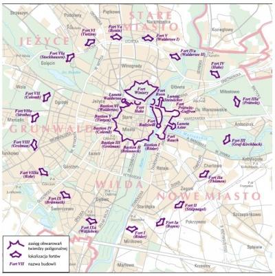 Карта фортов крепости Познань