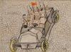 Автомобиль с революционными солдатами. Неизвестный автор. Москва. 1917 г. Бумага, графитный карандаш, цветные карандаши