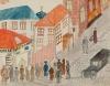 Очередь в булочную Н.И. Богомолова. Неизвестный автор. Москва. 1917 г. Бумага, графитный карандаш, акварель, тушь, перо, белила