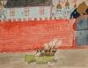 Обстрел Кремля. Неизвестный автор. Москва. Октябрь - ноябрь 1917 г. Бумага, графитный карандаш, акварель, бронзовая краска
