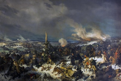 Переправа через Березину 17 (29) ноября 1812 г. Хесс (Гесс), Петер фон. 1792-1871. Германия, 1844 г. Холст, масло, 224x355 см. Картина входит в серию, посвященную крупнейшим сражениям Отечественной войны 1812 года. Утром 17 (29) ноября 1812 года русские войска заняли деревню Студянки (около нее французы переправлялись через Березину), и авангард генерала П.Х. Витгенштейна двинулся к берегу реки. Справа - Витгенштейн (на гнедом коне); вокруг - русские казаки и пехотинцы, пробирающиеся между брошенными французскими повозками; башкиры и калмыки, составляющие иррегулярную конницу русской армии. В центре - два русских офицера предлагают сдаться группе французских солдат. Слева - французские солдаты. На первом плане рядом с телегой на снегу лежат маршальский мундир, лента ордена Почетного легиона, ящик, из которого высыпались церковные ценности. На заднем плане - горящие мосты через Березину. Справа на высоте горит деревня Студянки; рядом русская артиллерия обстреливает противника на правом берегу реки.