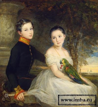 Робертсон, Кристина. 1796-1854. Дети с попугаем. 1850 г. Холст, масло. 112x104 см.