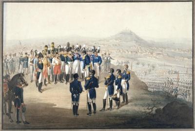 Капитуляция Парижа 19 (31) марта 1814 года. Бейер, Карл-Фридрих. 1792-1863. Первая четверть XIX в. бумага, акварель, 29,4х42,5 см. ГЭ