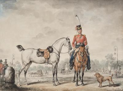 Казак с лошадью на площади Людовика XV в Париже. Верне, Карл. 1758-1836. Франция, 1815 г. бумага, акварель, тушь кистью, гуашь по наброску карандашом. 44х59 см. ГЭ.