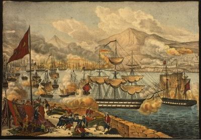 Уничтожение турецкого флота в битве при Наварине 20.10.1827.
