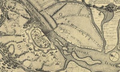 Фрагмент карты Новгорода 1672 года.