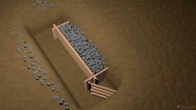 3D реконструкция фрагмента пятиугольного сруба, забутованного камнем.