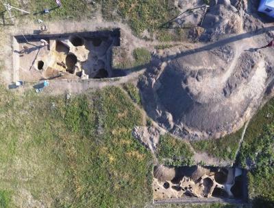 Участки раскопа: вид сверху.