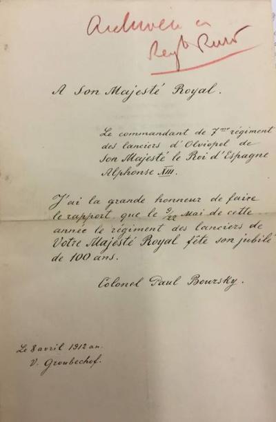 Поздравление в адрес Альфонсо от командира Ольвиопольцев в связи со 100-летием его полка