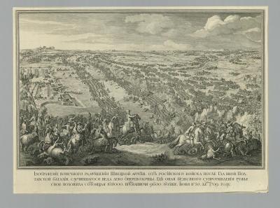Сражение при Полтаве 27 июня 1709 года. Лармессен, Николя де IV. 1684-1753/55. Россия, 1722 г. Бумага, форт, резец.57х78,5 см. ГЭ