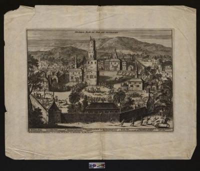 Взятие Астрахани в 1676 году. 1678 г.  Бумага верже, офорт. 29,5х36,5 см. ГИМ.