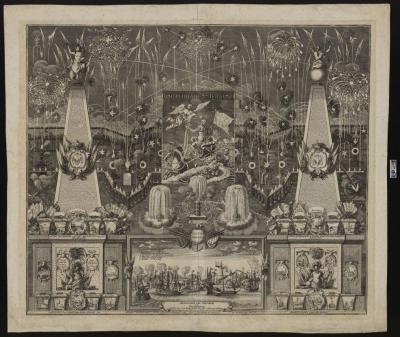 Фейерверк в честь победы при Гренгаме. XVIII в. Бумага, гравюра, 54х63,8. ГИМ.