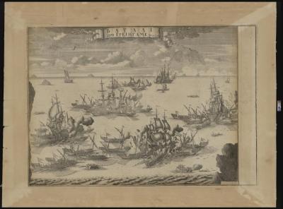 Баталия при Гренгаме. Зубов А.Ф. Доска 1721 г. оттиск XVIII в. Бумага, гравюра, 68х81 см. ГИМ.