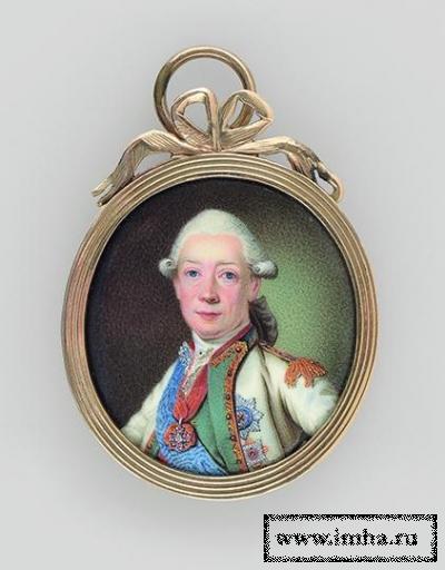 Портрет графа Ивана Григорьевича Чернышева, фельдмаршала флота (1726 - 1797). После 1790 г., неизвестный художник. Металл, эмаль, золото (оправа). 3,2х2,8 см (овал); 4,4х3,4 см (оправа). ГЭ