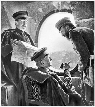Гельмут фон Мольтке 1800–1891 со штабными офицерами: Hptm. VonBurt (слева) и подполковник (Oberstleutnant De Claer (справа)) перед Парижем.1870-71 гг. фото с картины графа Харраха