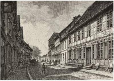 Пархим (Parchim), Германия, место рождения Гельмута Карла Бернхарда Графа фон Мольтке (1800-1891), гравюра из L'Illustrazione Italiana, год 18, № 19, 10 мая 1891 года.